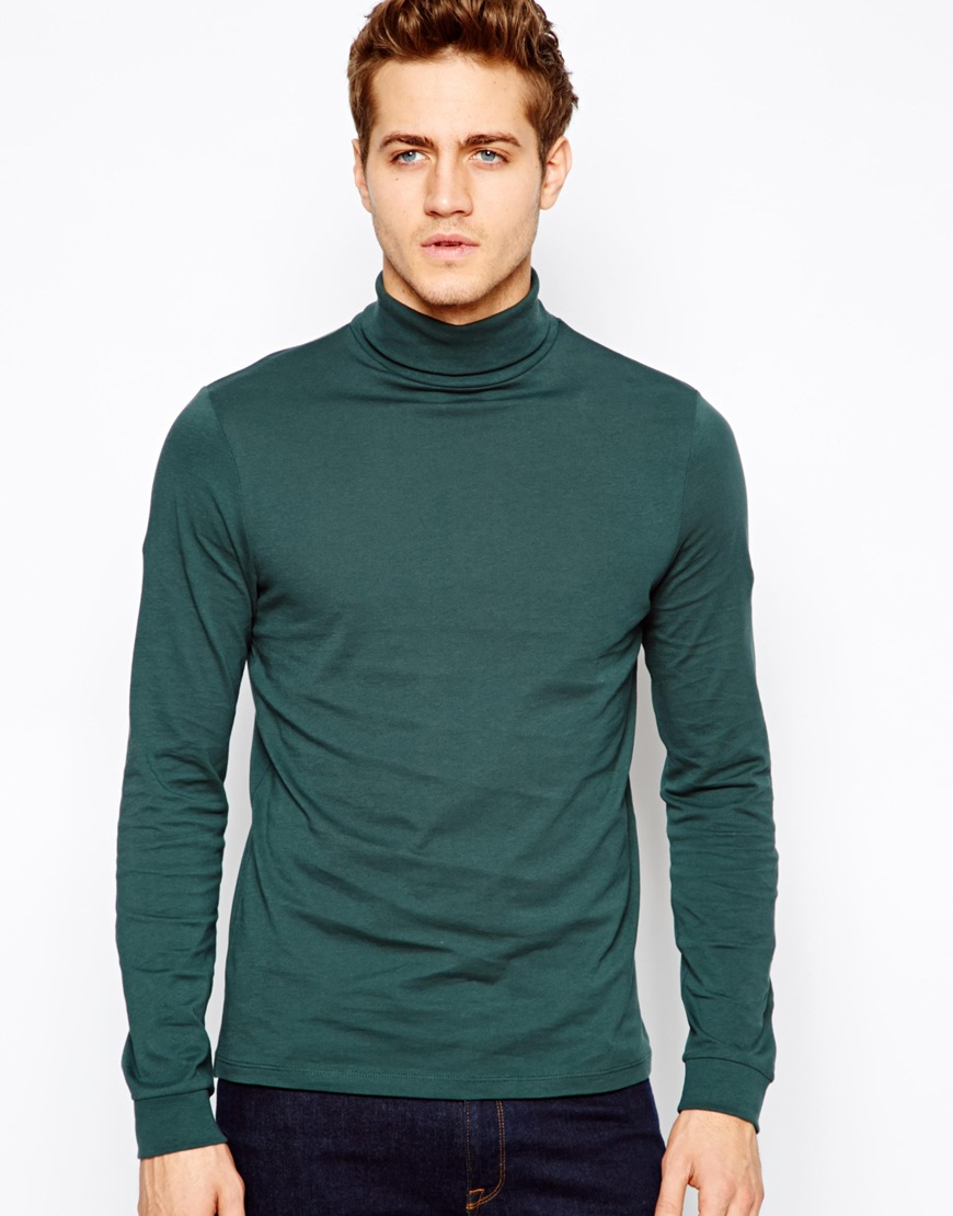 Asos Long Sleeve Tshirt With Roll Neck In Green For Men Lyst