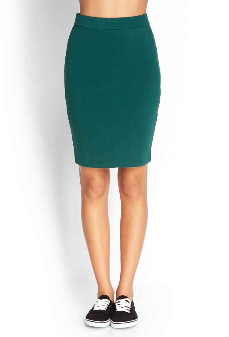 forever 21 knit pencil skirt in green lyst