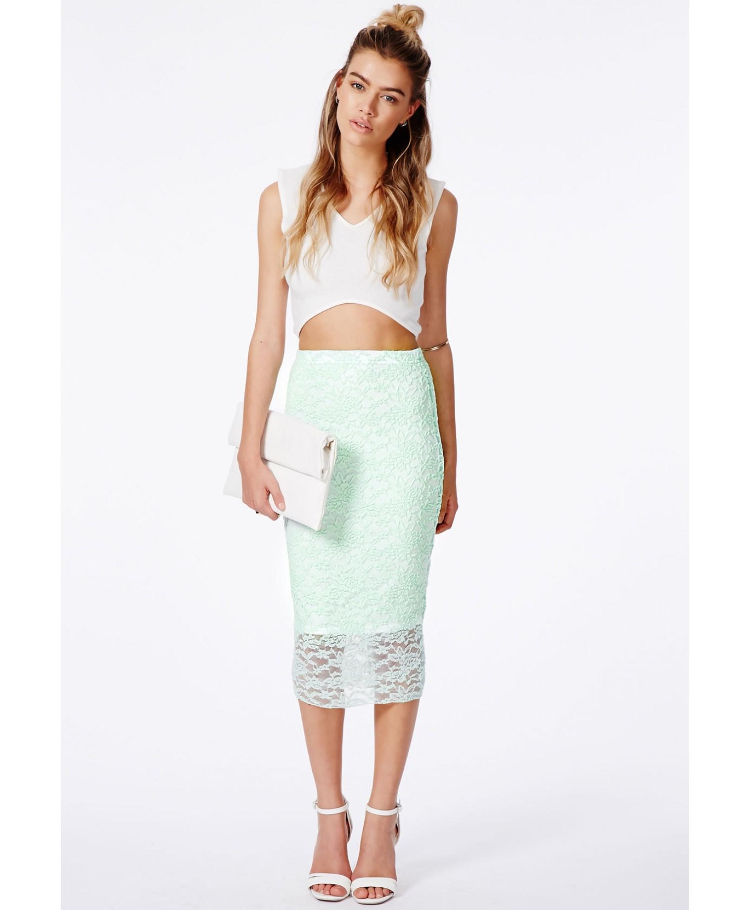 missguided graciana mint lace midi skirt in green mint