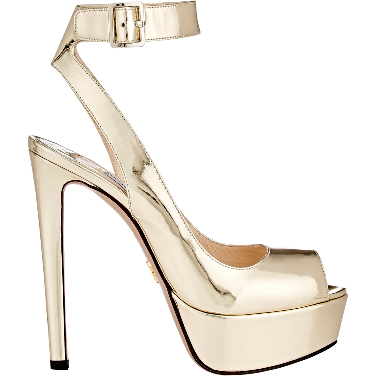d55ad2241 Prada Women's Ankle-strap Sandals in Metallic - Lyst