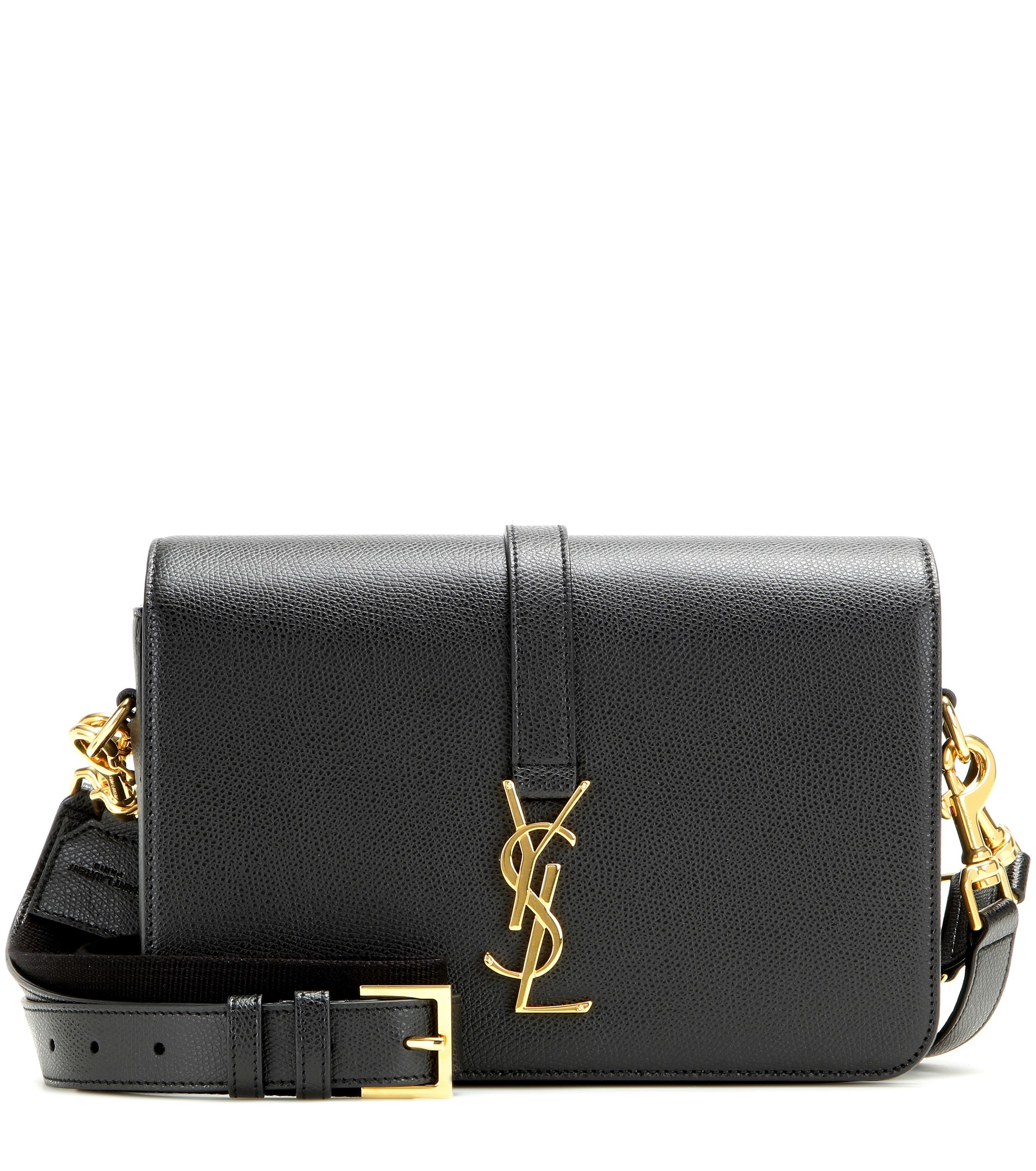 saint laurent monogram universit medium leather shoulder bag in black lyst. Black Bedroom Furniture Sets. Home Design Ideas