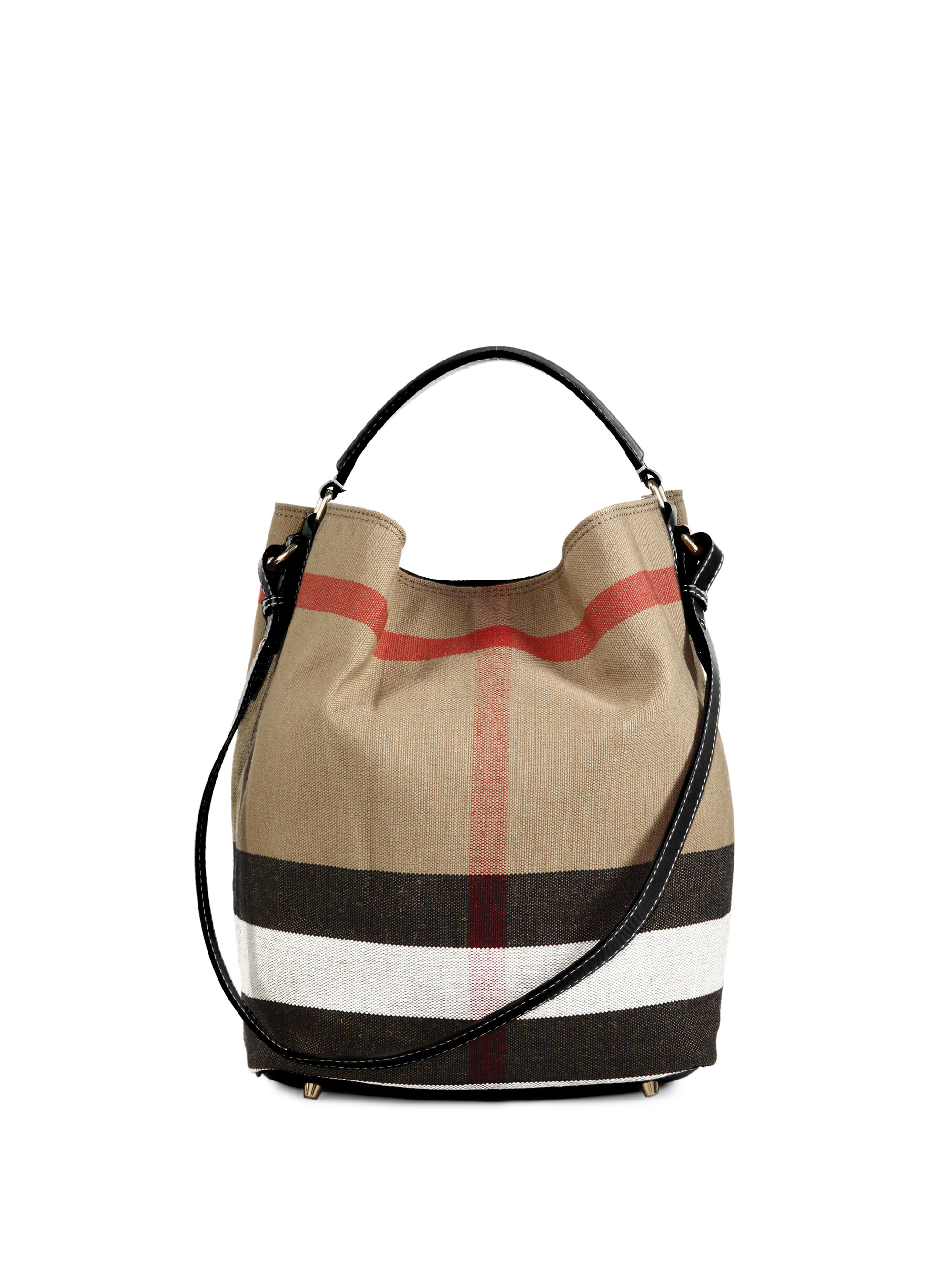 Lyst Burberry Medium House Check Cotton Amp Leather Bucket