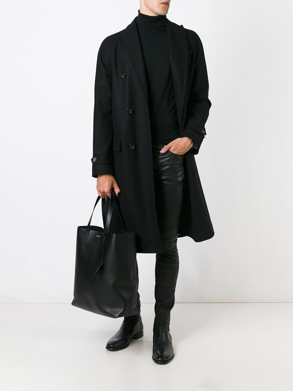 saint laurent classic shopper tote in black for men lyst. Black Bedroom Furniture Sets. Home Design Ideas