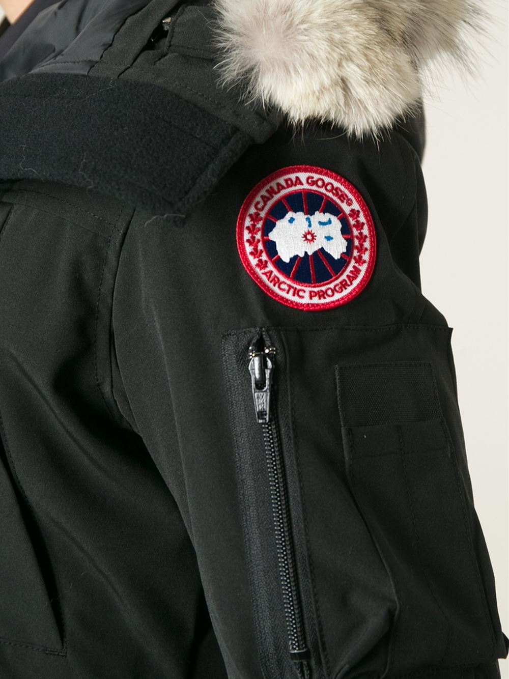 canada goose logo on right arm