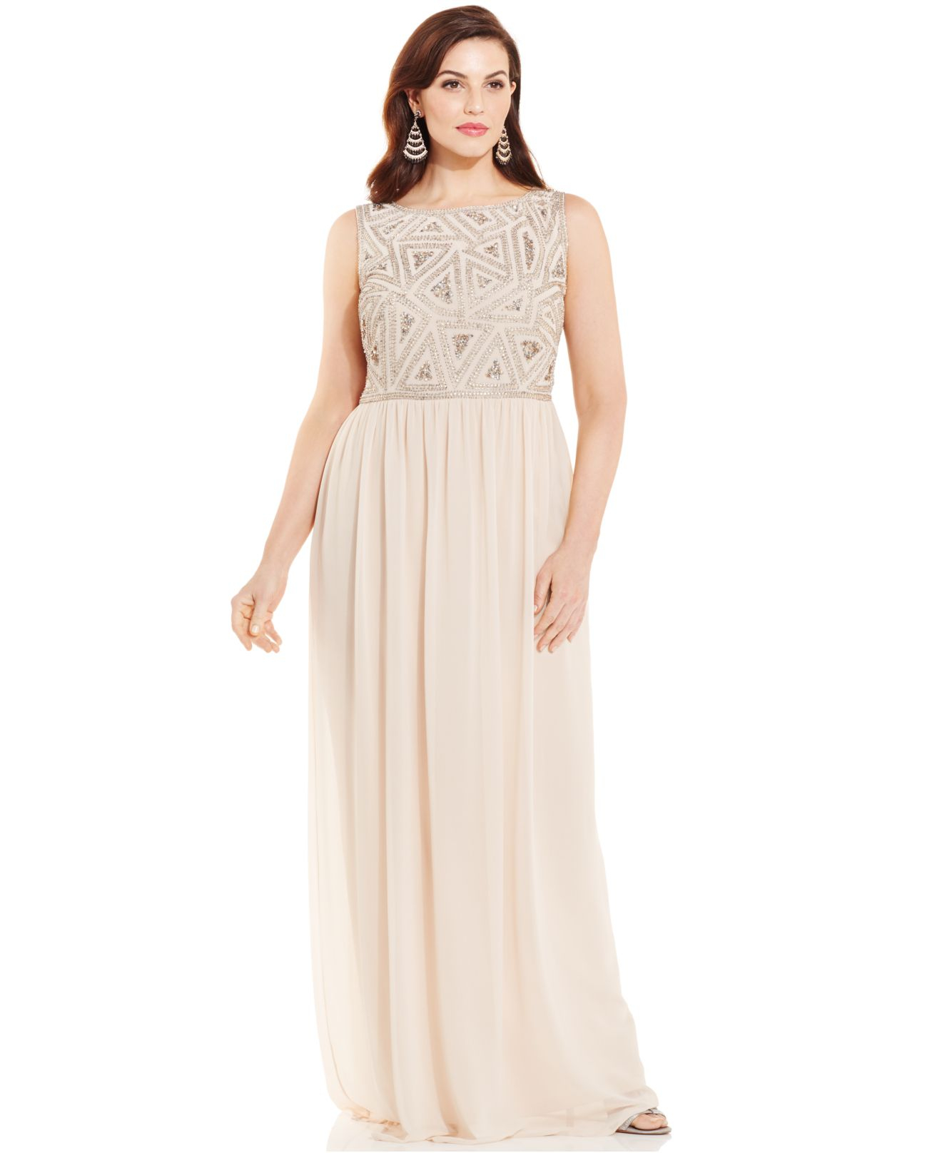 Adrianna Papell Plus Size Embellished Gown In Pink Lyst