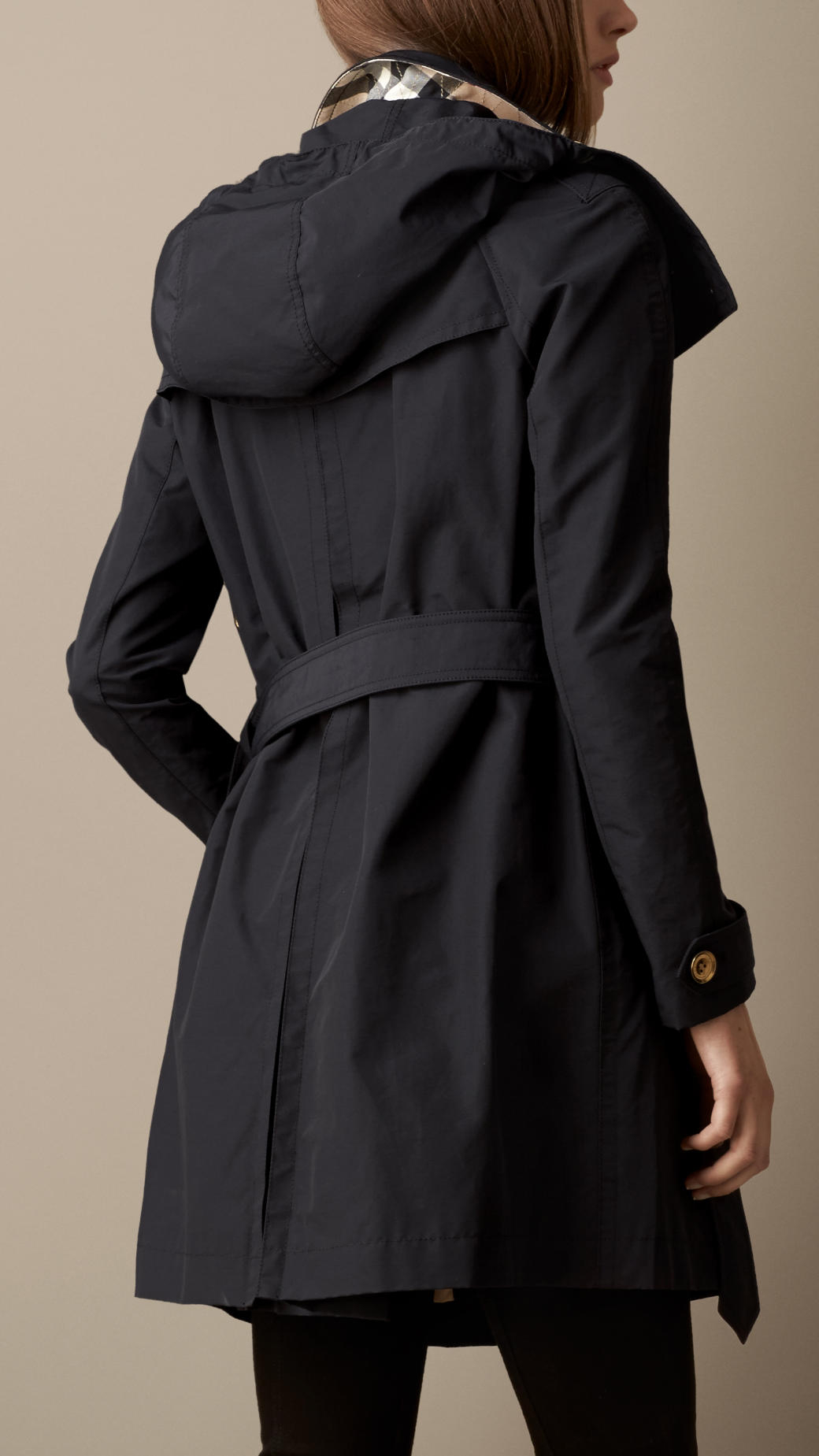 Burberry Mid Length Faille Trench Coat With Removable Hood Navy on Color Learn Rain