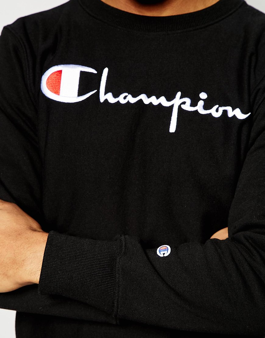 Champion Sweatshirt With Script Logo in Black for Men | Lyst