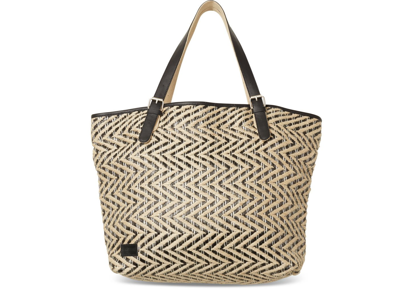 toms black multi chevron straw islander tote in black lyst