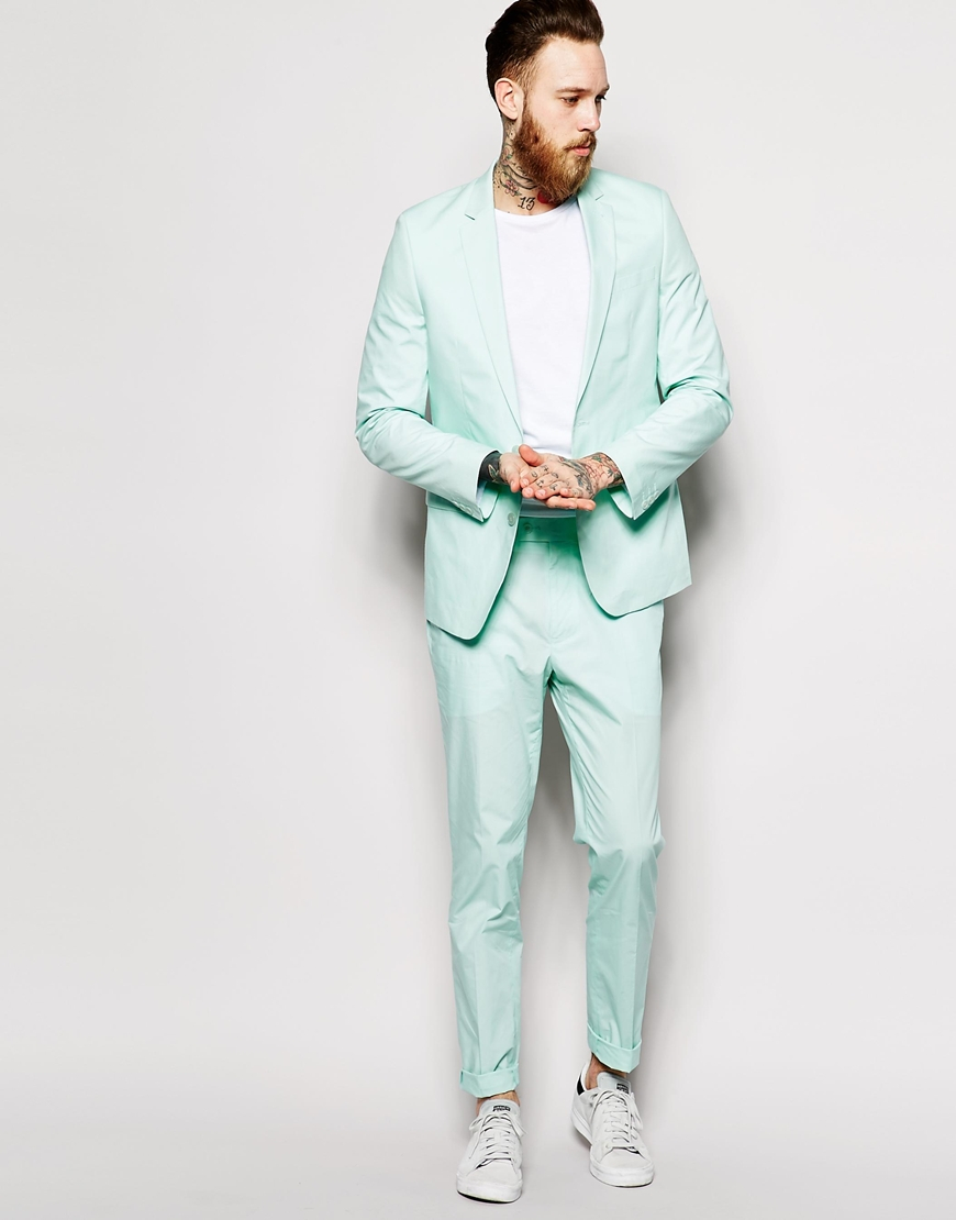 Asos Slim Fit Suit Trousers In Poplin in Green for Men | Lyst
