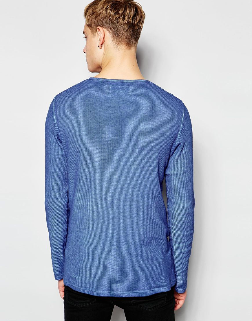 solid henley long sleeve t shirt in blue for men lyst