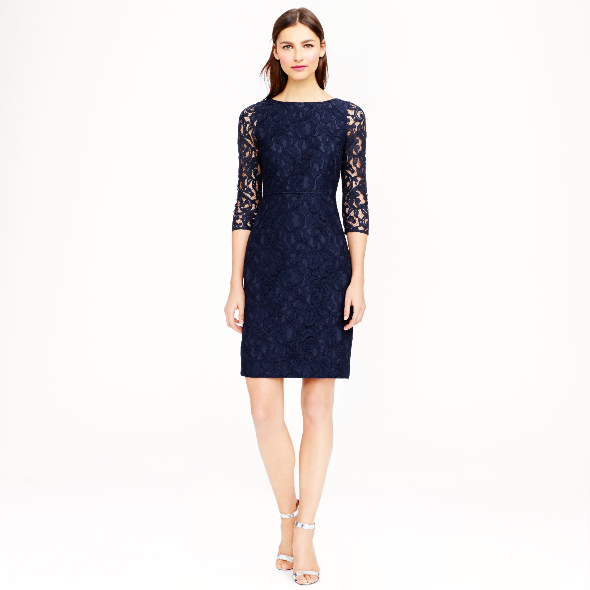 Natalia dress in leavers lace in blue navy save for J crew short wedding dresses