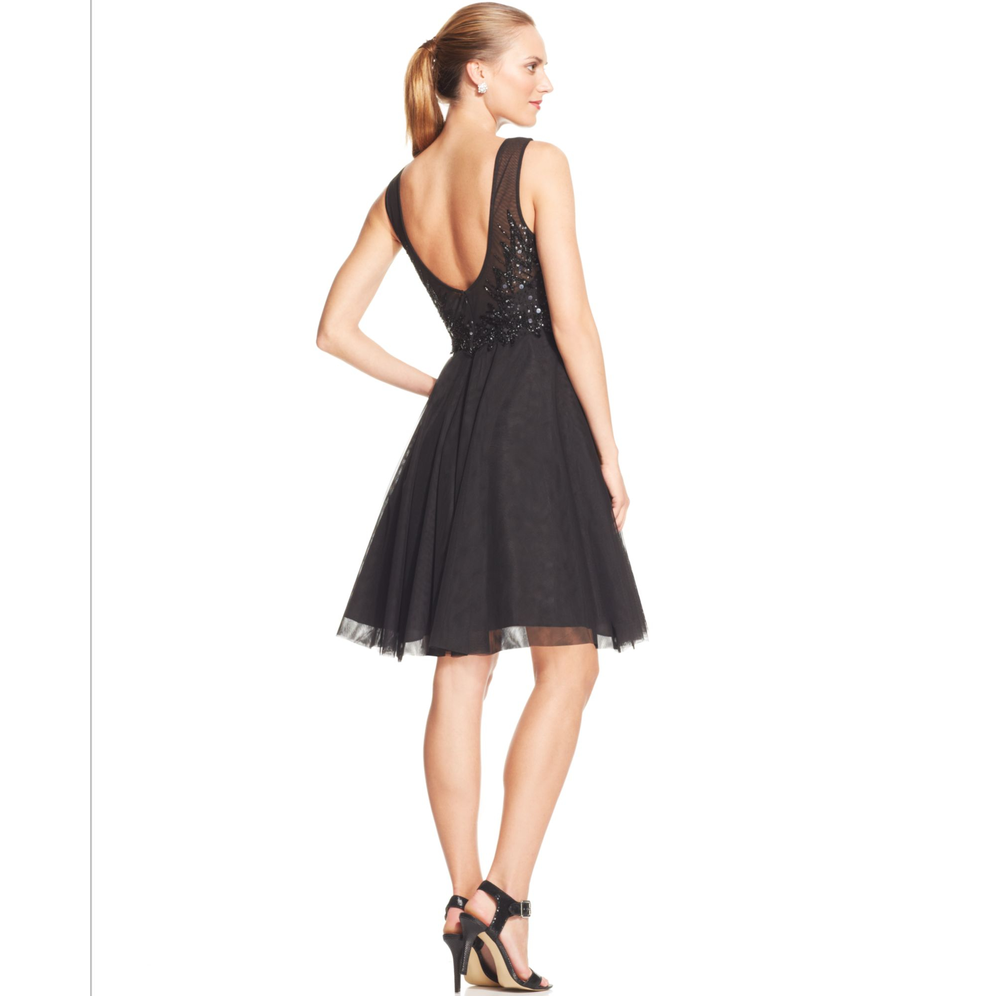 Black Illusion Dress: Adrianna Papell Sleeveless Embellished Illusion Dress In