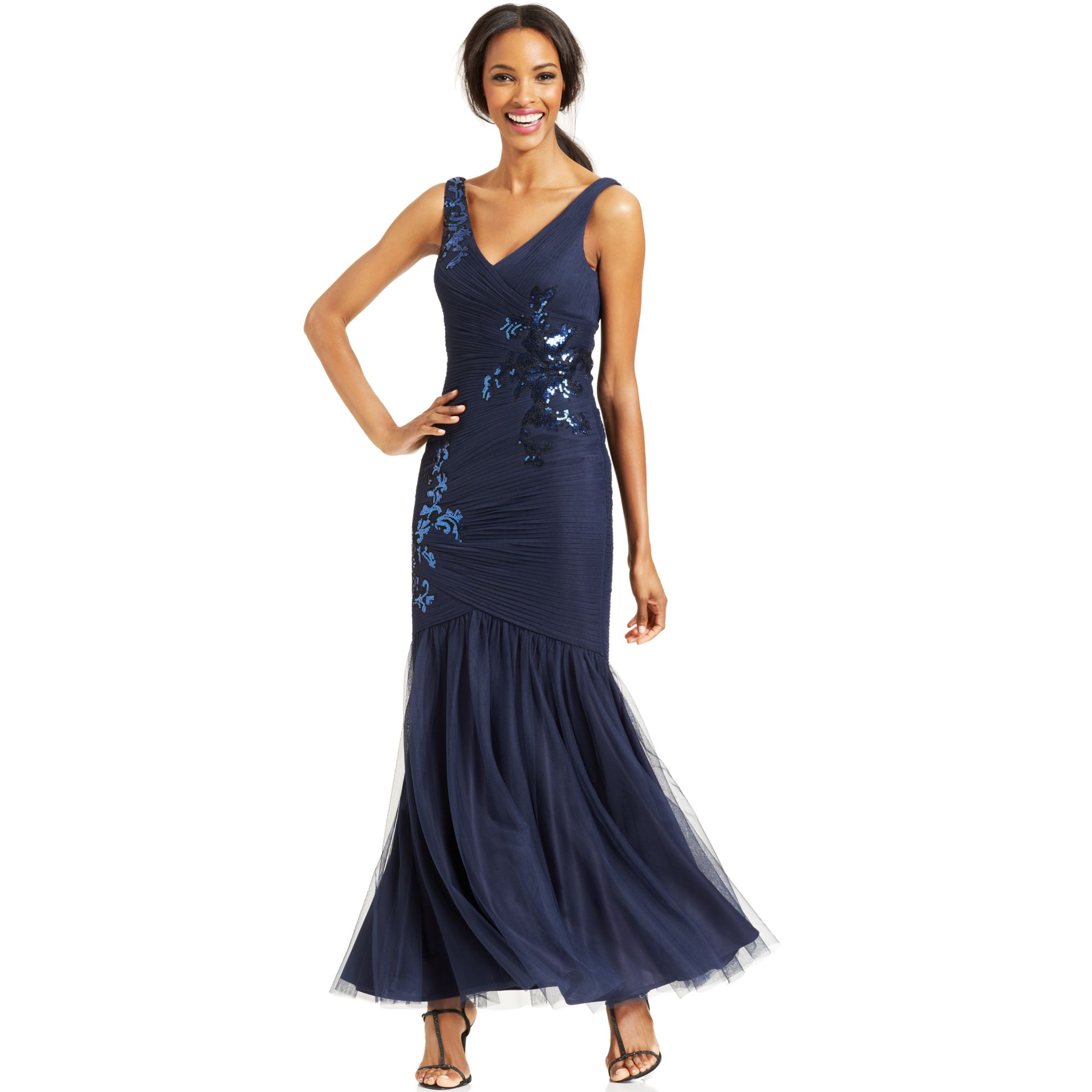 Lyst Js Collections Floral Sequin Mermaid Gown In Blue
