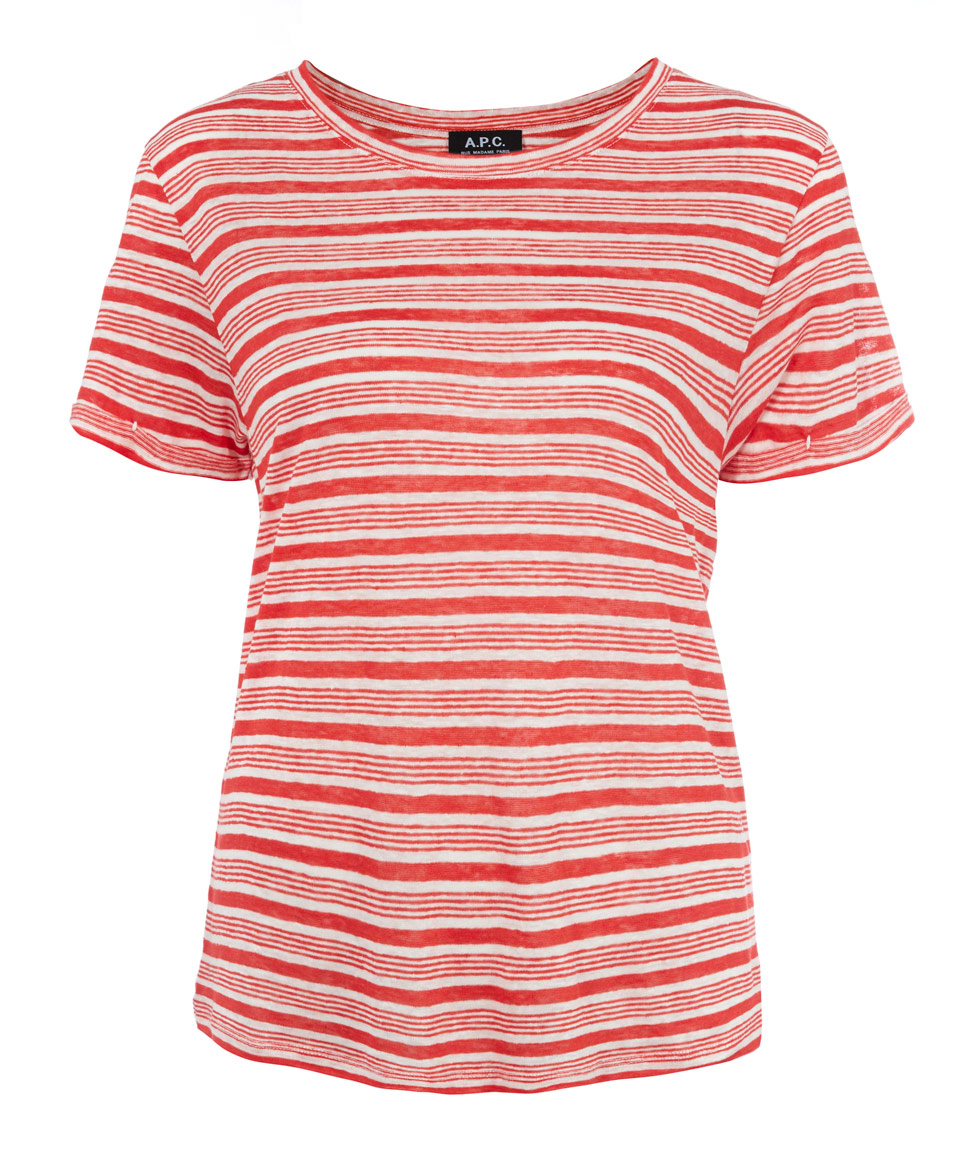 A p c red striped short sleeved t shirt in red lyst for Apc white t shirt