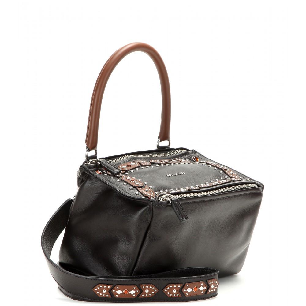 9f753548a43b Lyst - Givenchy Pandora Small Embellished Leather Shoulder Bag in Black