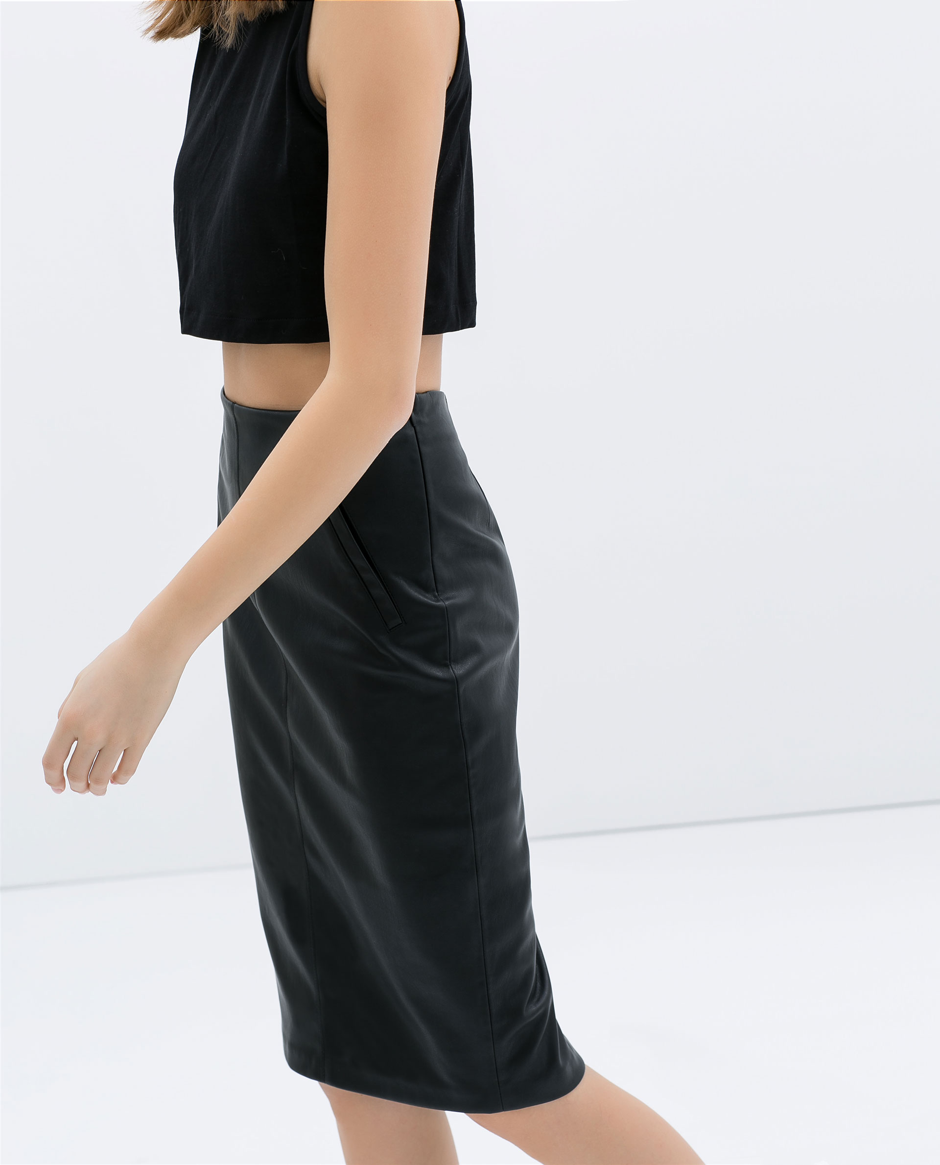 Zara Faux Leather Pencil Skirt with Pockets in Black | Lyst