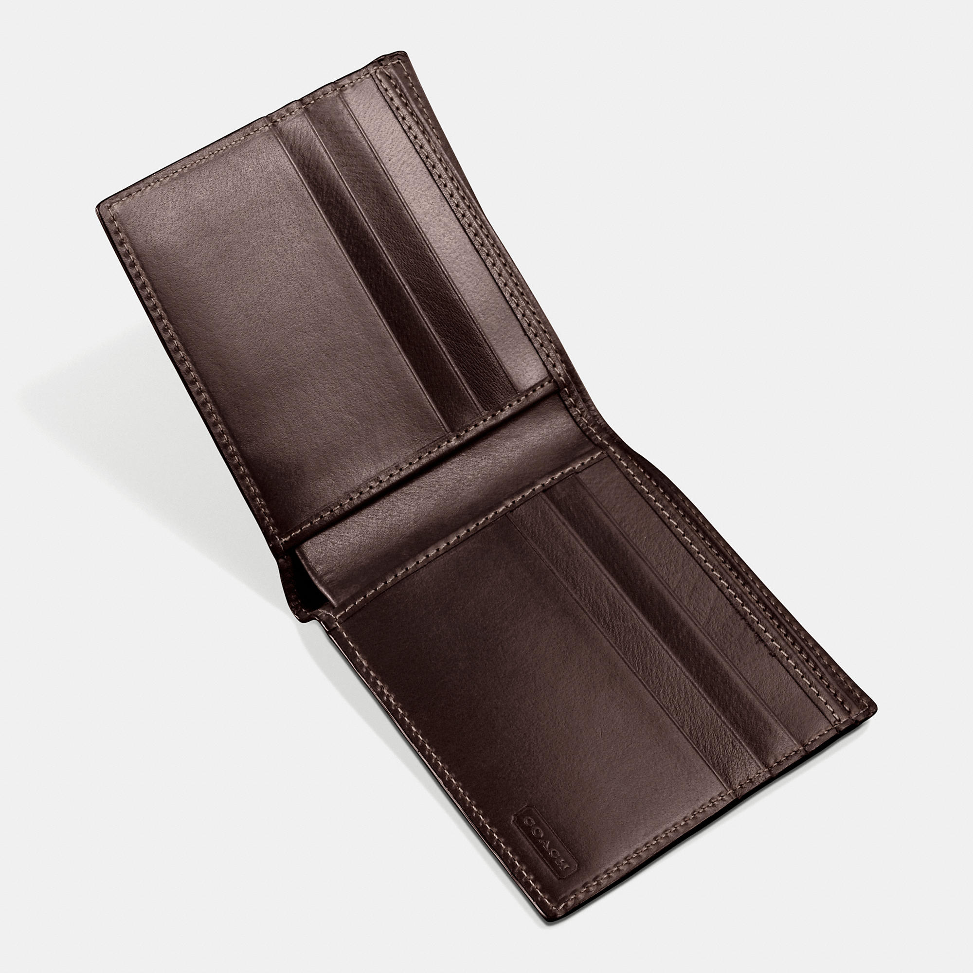 b1d13f9824f2 ... signature coated canvas lyst a6134 fef00  spain lyst coach double billfold  wallet in water buffalo in brown for men a98f7 381b5
