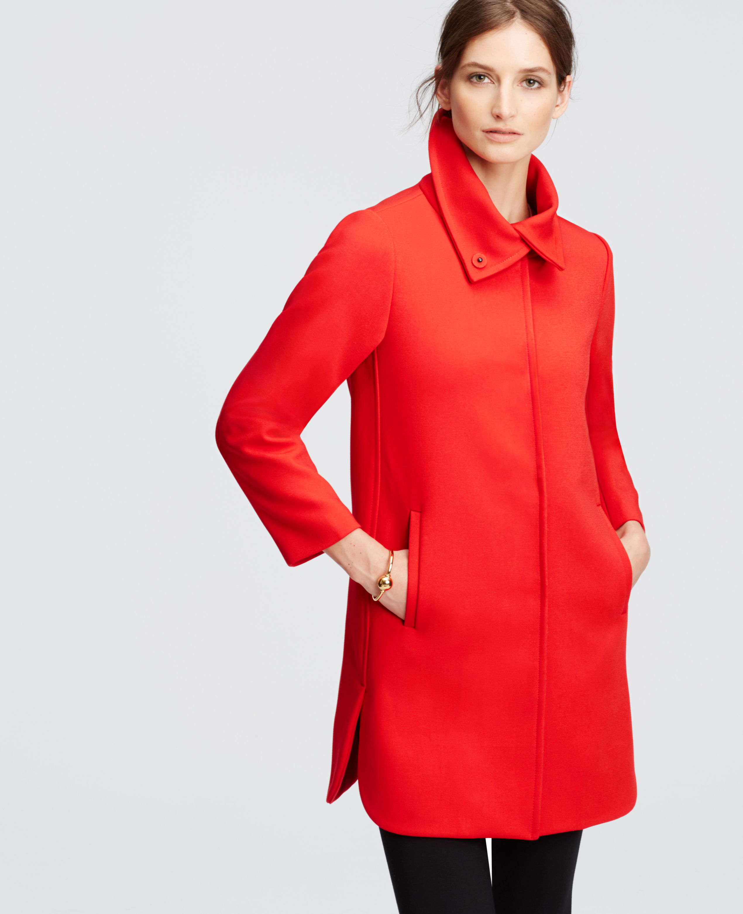 Ann taylor Petite Red Statement Coat in Red | Lyst