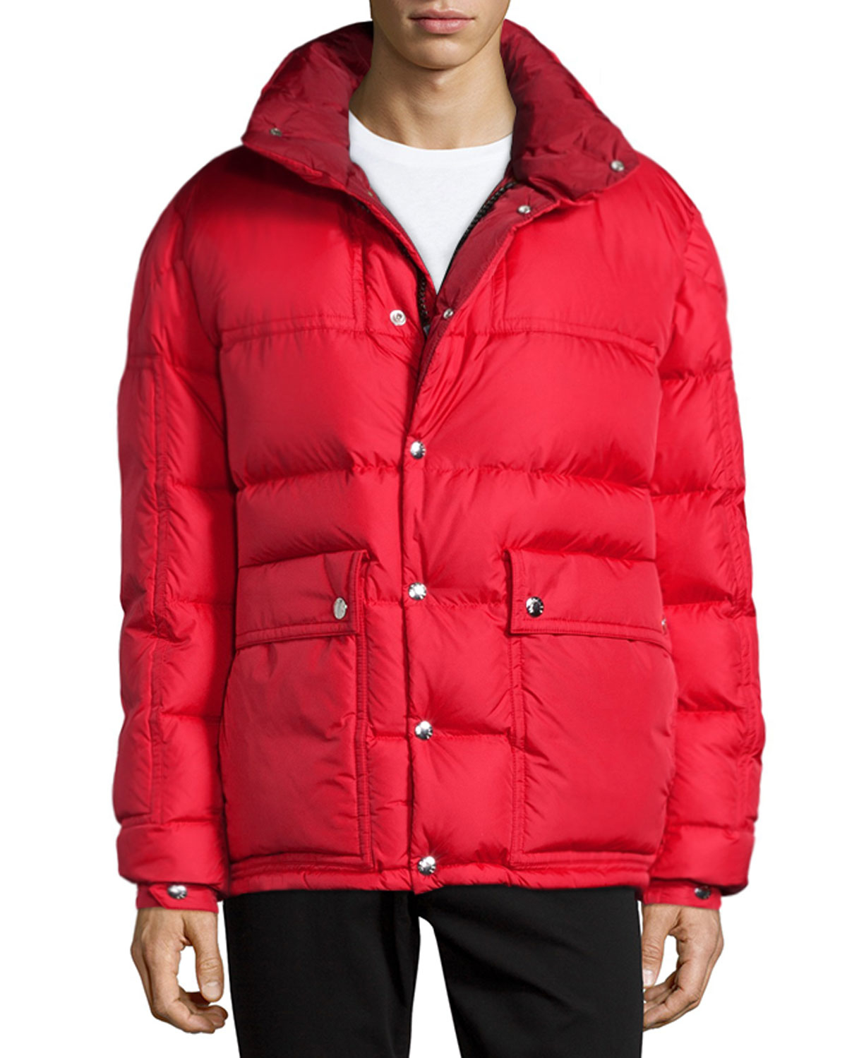 b95760e1b51c low cost moncler puffer jacket red hood 84ed6 4c708