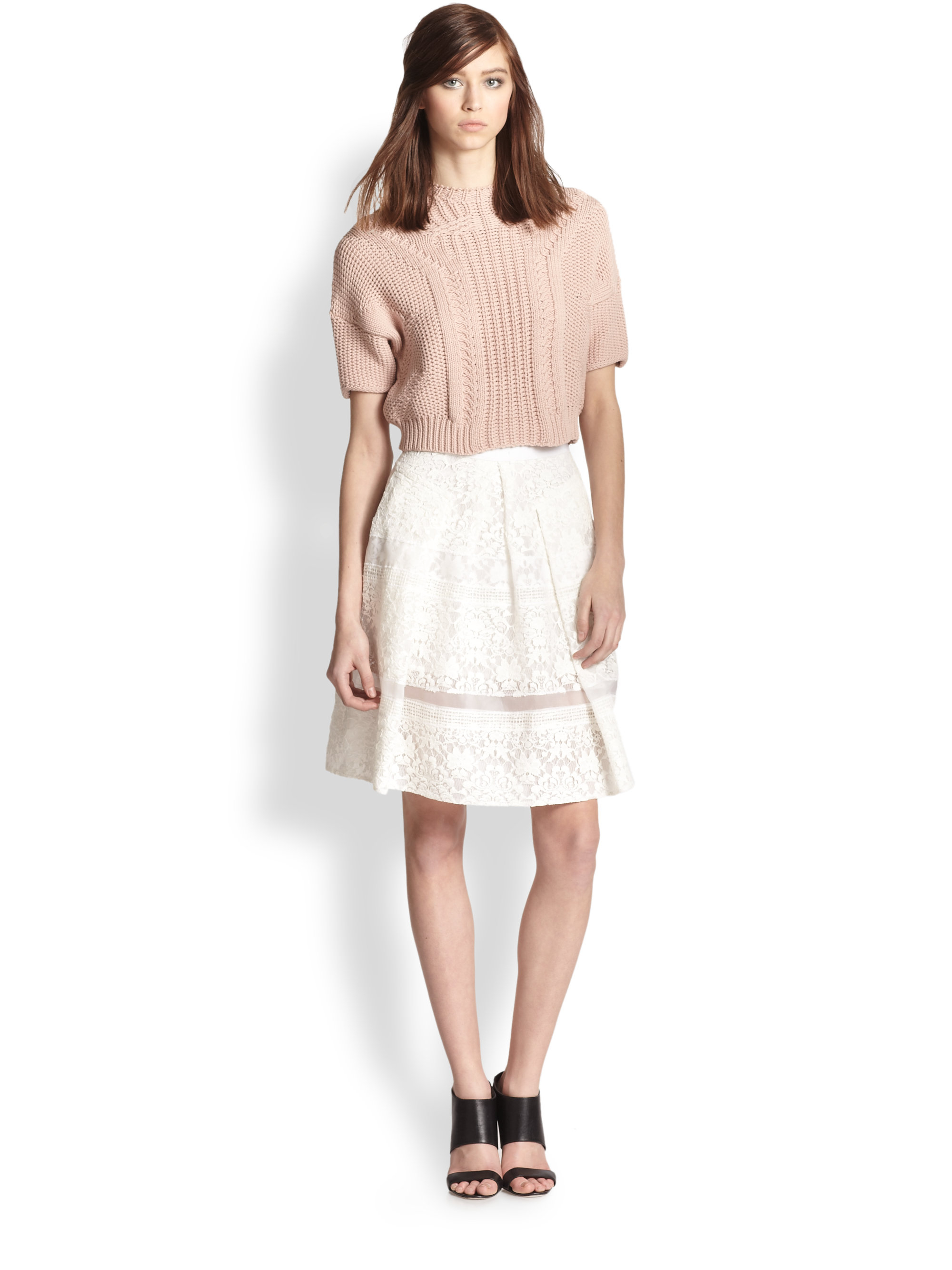 Rebecca taylor Short Sleeve Cropped Pullover Sweater in Pink | Lyst