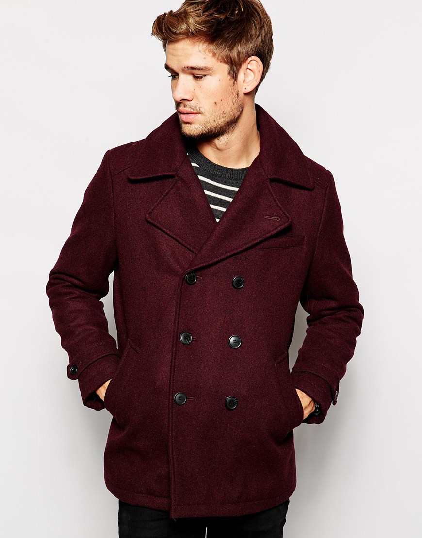 Selected Selected Wool Pea Coat in Red for Men | Lyst