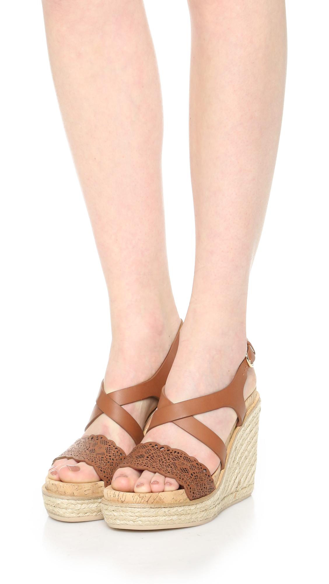 32d35a5ca6b Lyst - Ferragamo Gioela Wedge Sandals in Natural