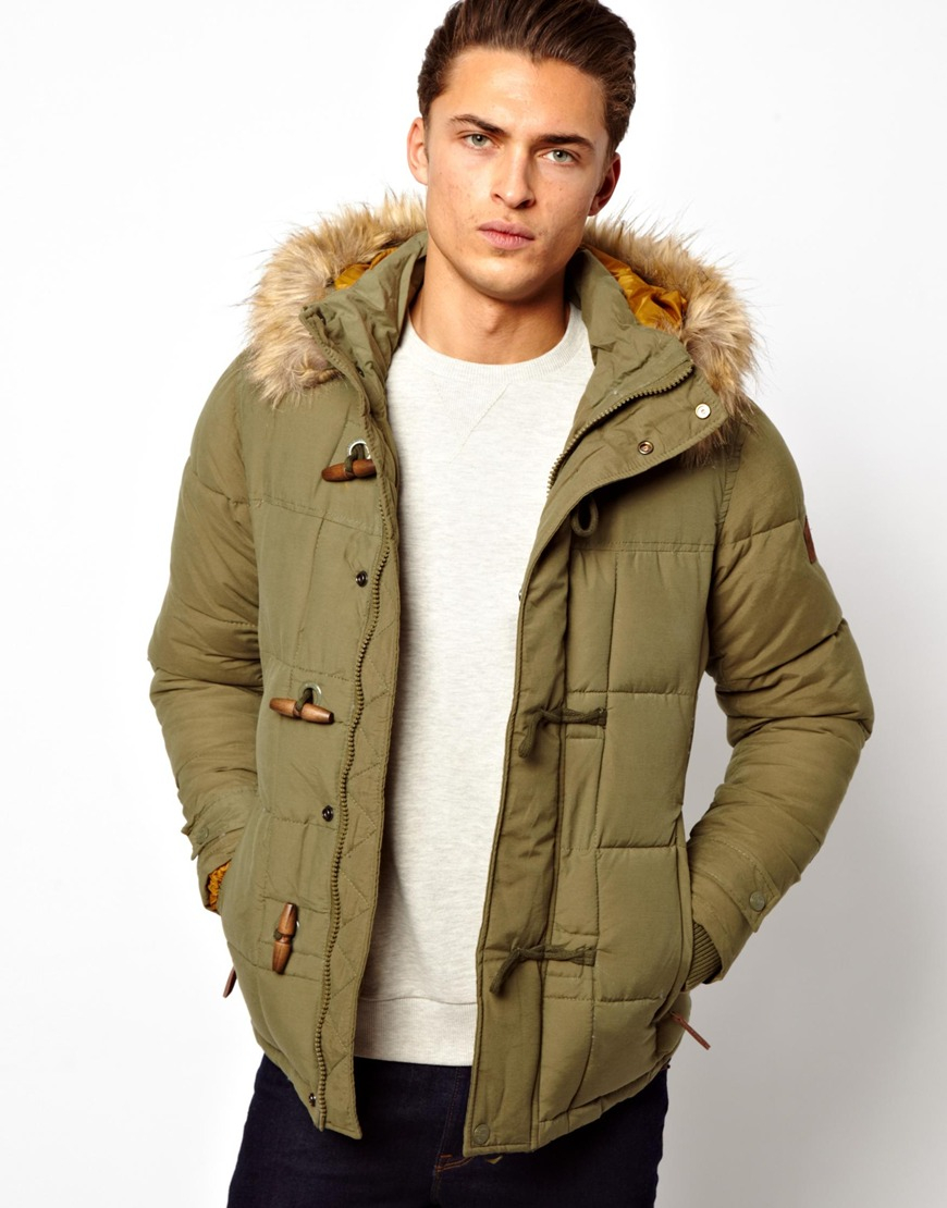 Pull&bear Parka in Green for Men | Lyst
