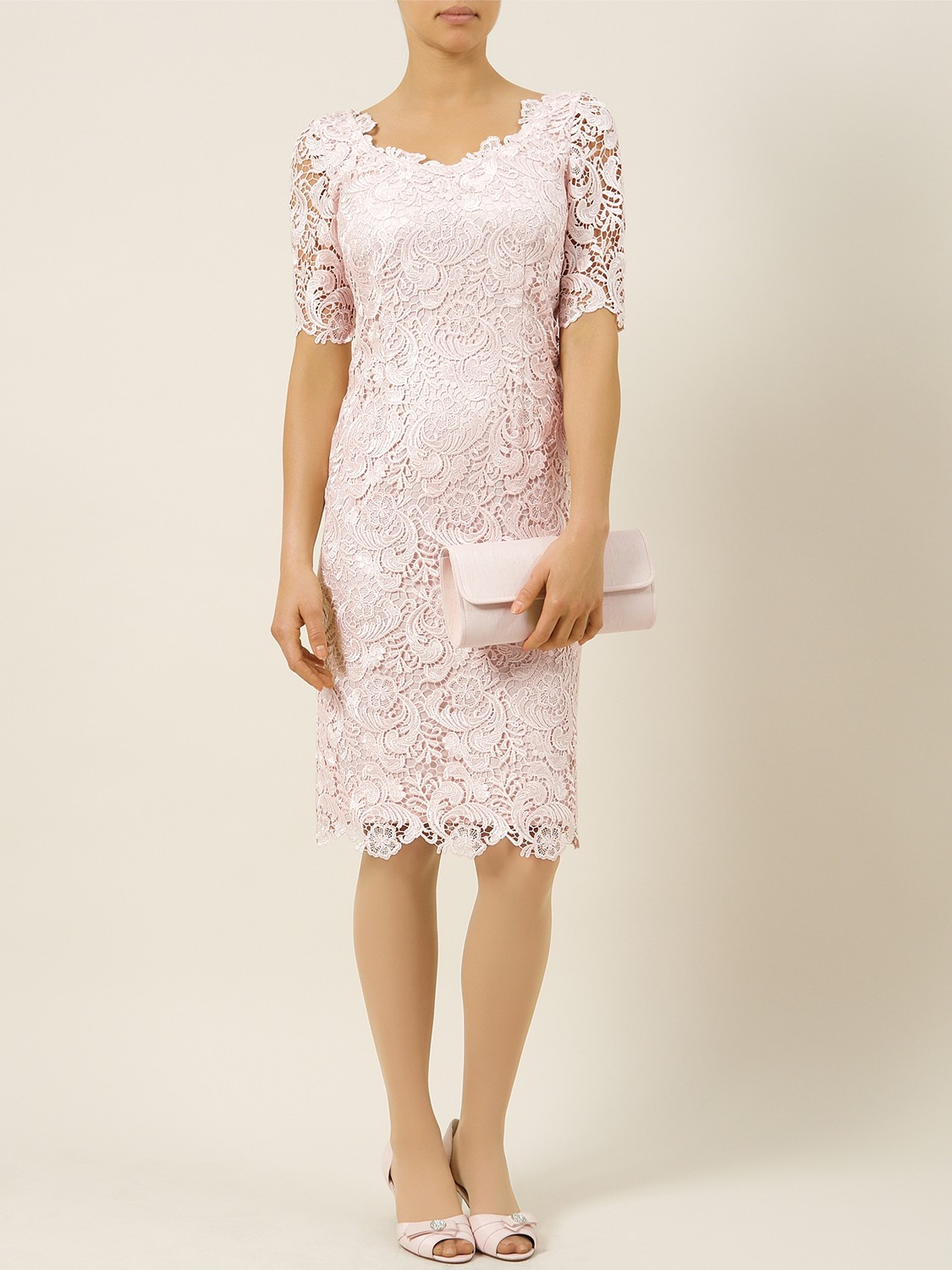 9341e428673fc Jacques Vert Luxury Lace Dress in Natural - Lyst
