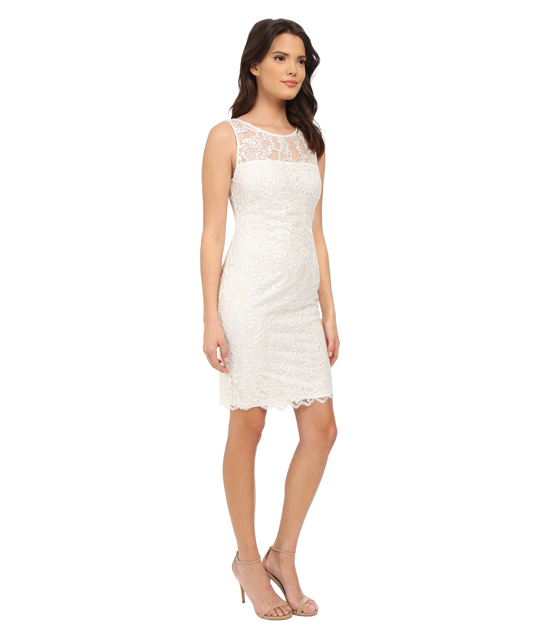 Calvin klein Lace Sheath Dress Cd5b4m6c in White | Lyst