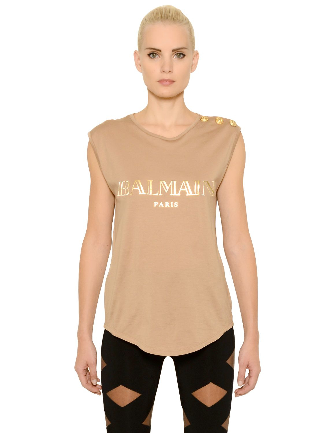 428c70eac8f6 Lyst - Balmain Logo Printed Cotton Jersey T-shirt in Natural