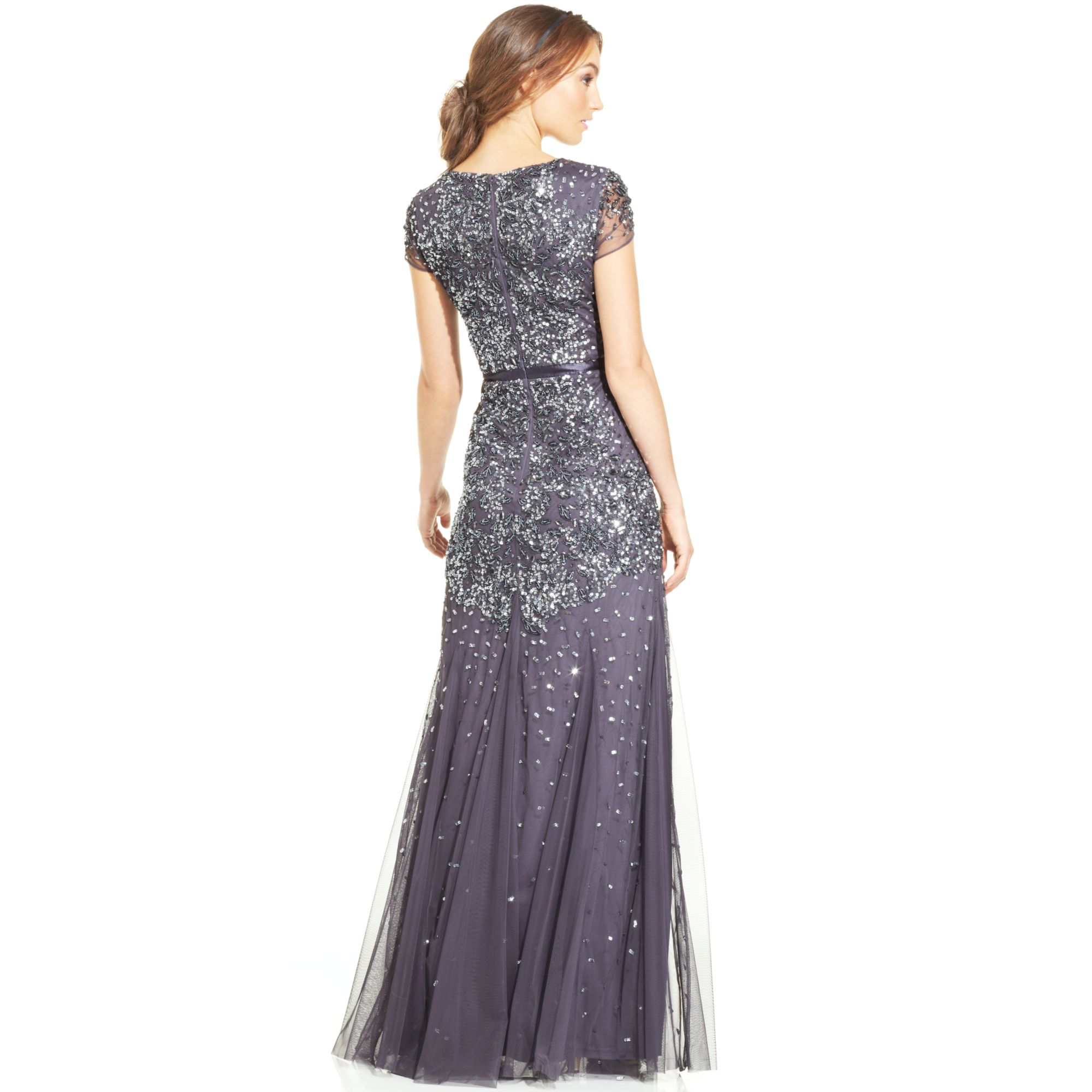 Adrianna Papell Cap-sleeve Embellished Gown In Blue