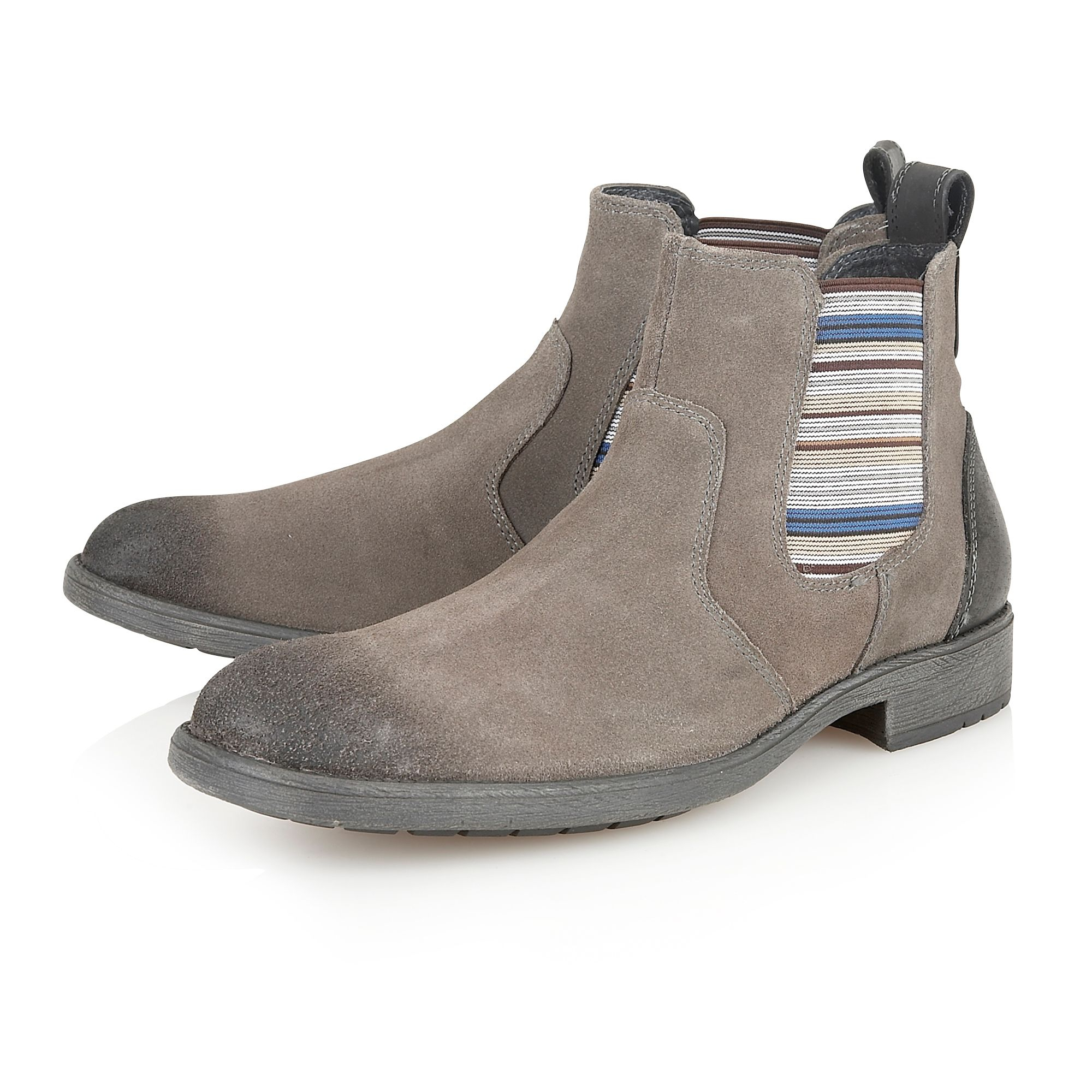 lotus slip on casual chelsea boots in gray for lyst