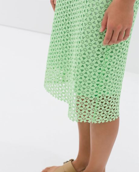 zara guipure lace pencil skirt in green sea green lyst