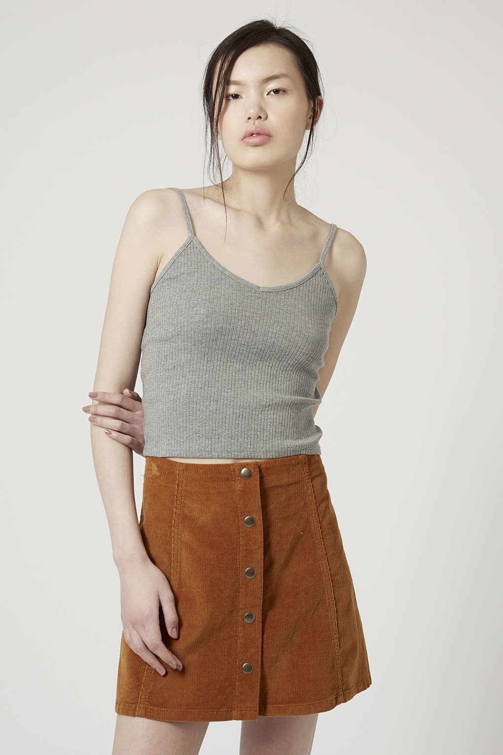 f4eb57f54f11fe Lyst - TOPSHOP Ribbed Cropped Cami in Gray