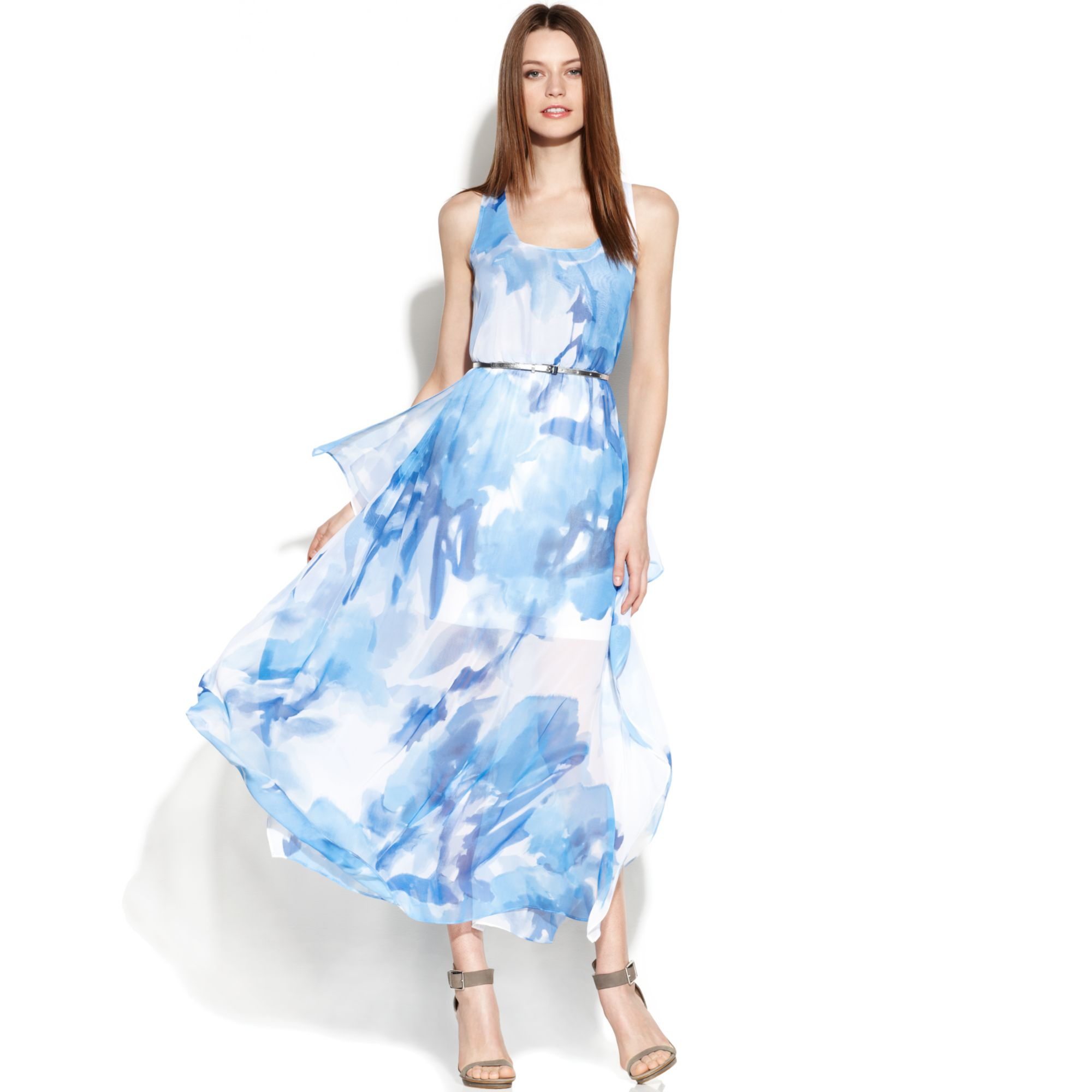 a31cd34a99159 Lyst - Calvin Klein Floralprint Chiffon Maxi Dress in Blue