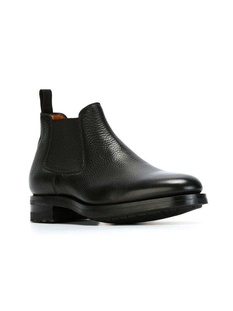 santoni classic chelsea boots in black for men lyst. Black Bedroom Furniture Sets. Home Design Ideas