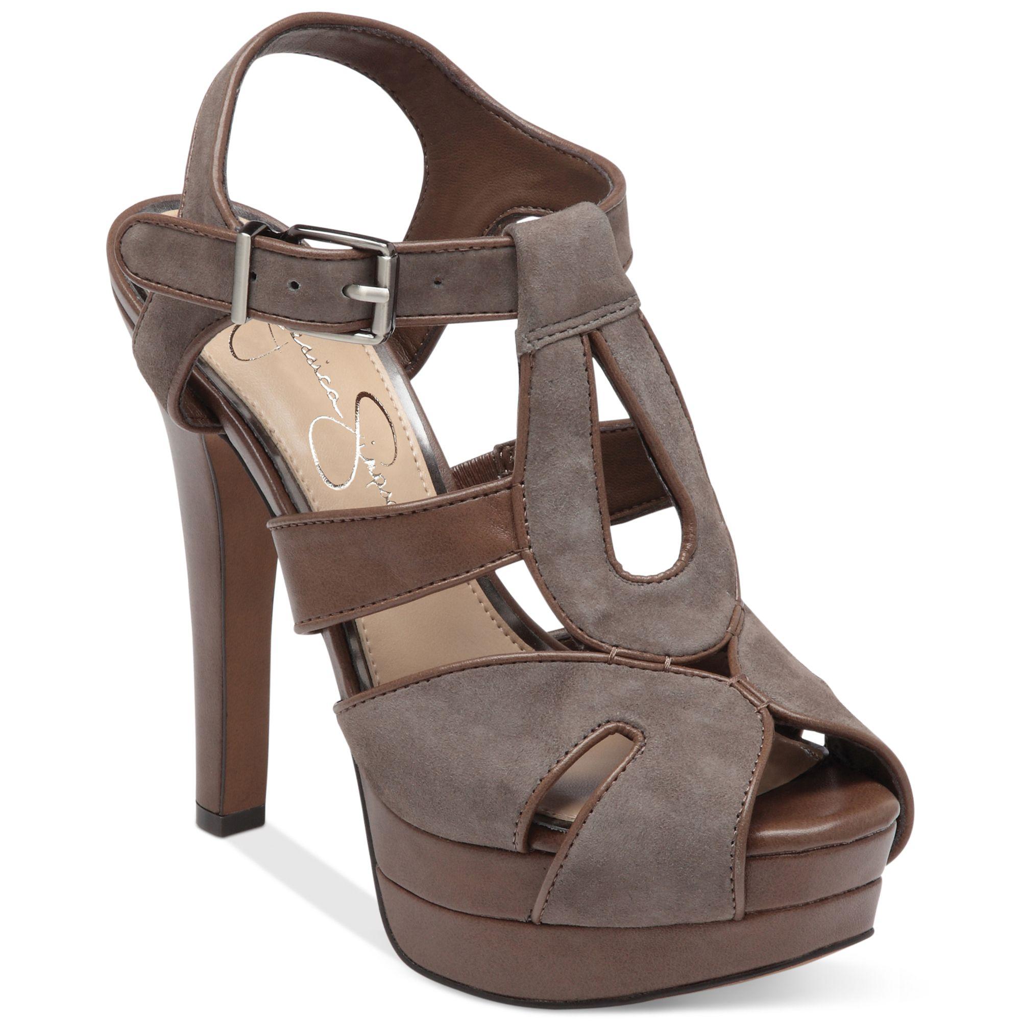 5b7ec1817a2 Lyst - Jessica Simpson Barrett Platform Sandals in Brown