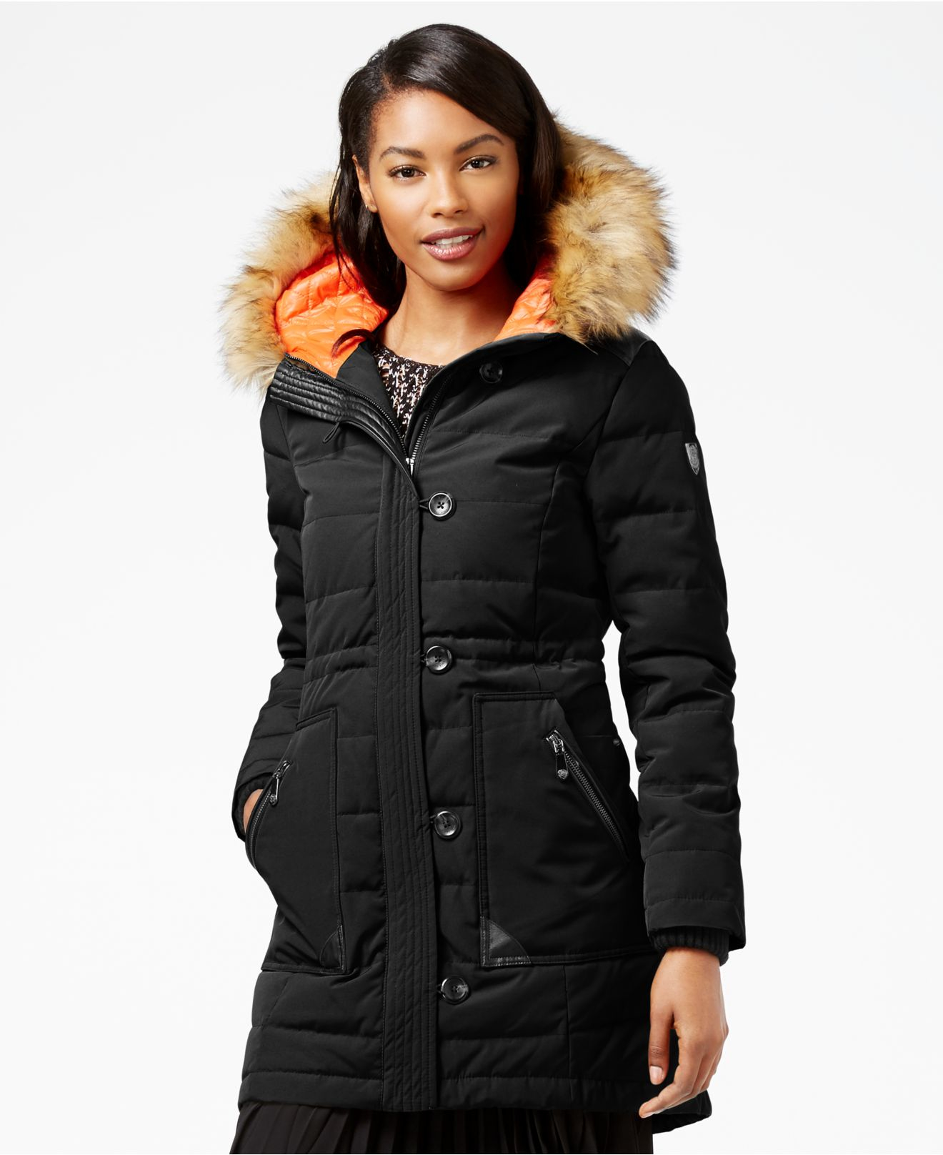 Vince camuto Faux-fur-trim Hooded Down Puffer Coat in ...