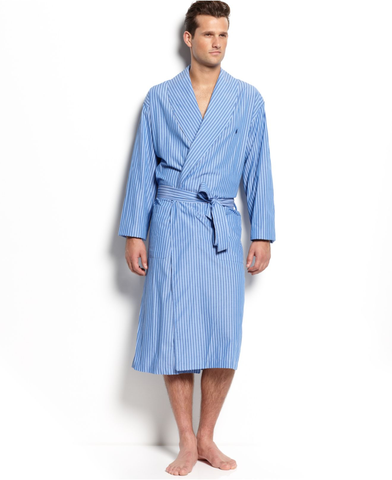563dcc3bdc4 Polo Ralph Lauren Men s Manhattan Striped Robe in Blue for Men - Lyst