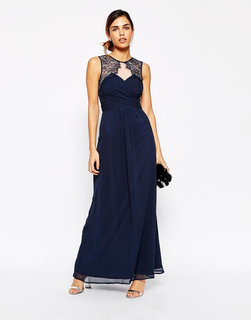 Womens Lace Sleeves and Back Maxi Dress Elise Ryan Yqtd9wSeU