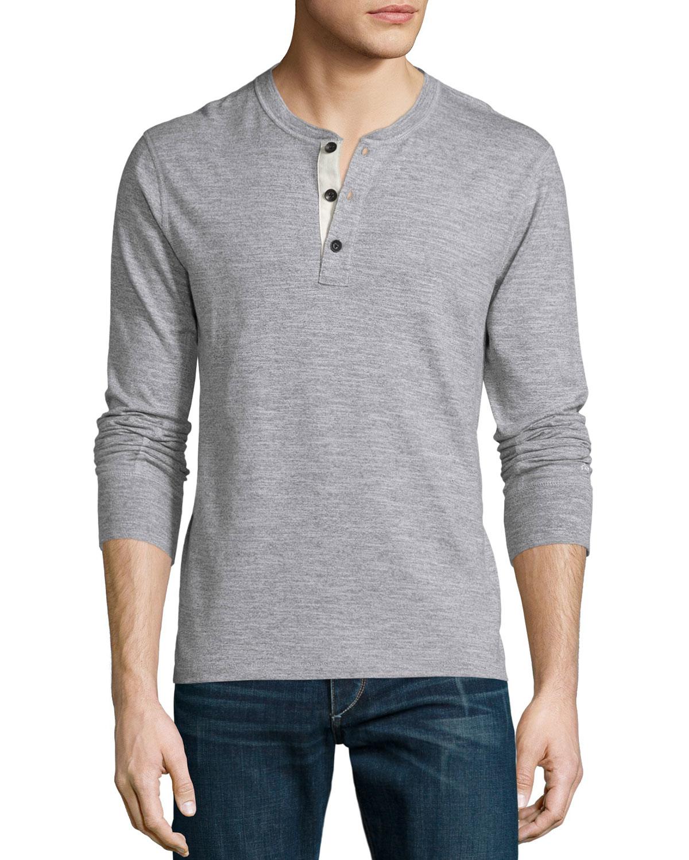 Lyst rag bone standard issue basic long sleeve henley for Rag bone shirt