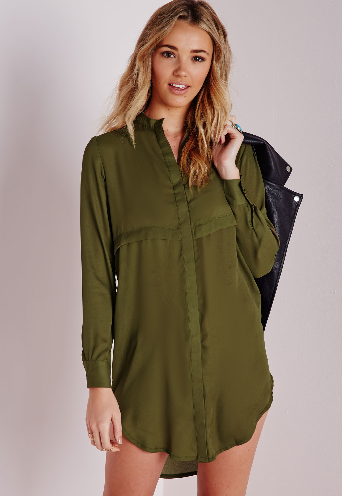 missguided oversized shirt dress khaki in green lyst