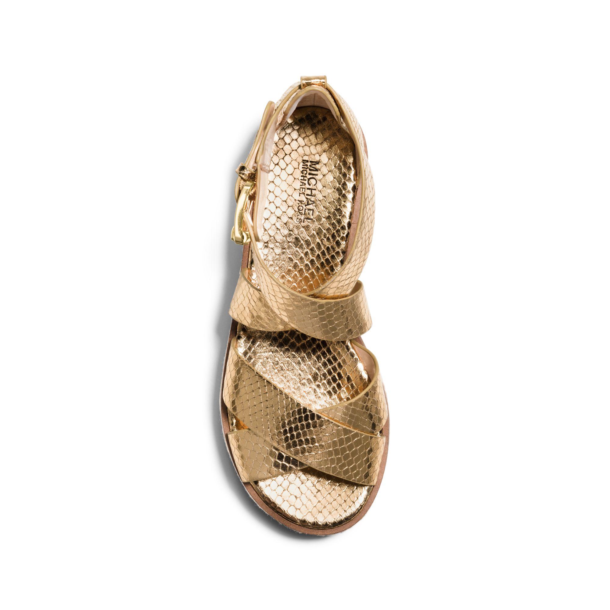 b451107d0df Lyst - Michael Kors Darby Embossed-leather Platform Sandal in Metallic