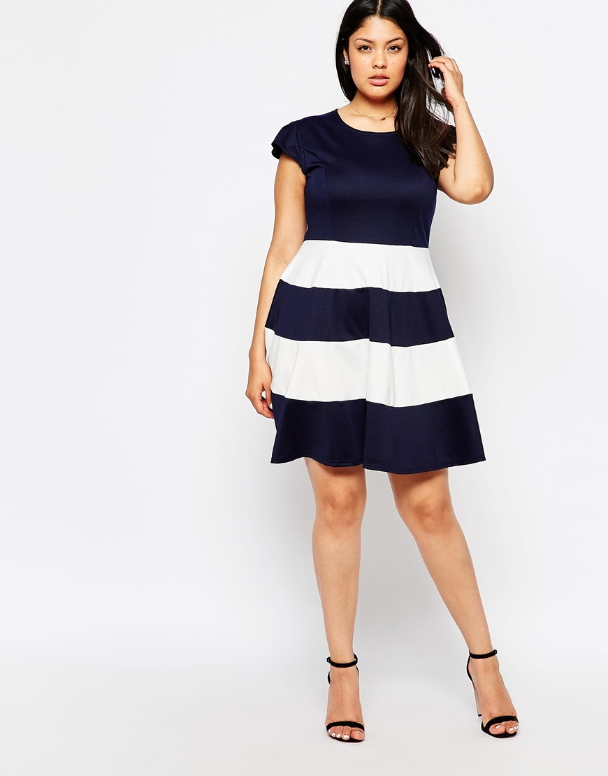 Praslin Plus Size Skater Dress With Striped Skirt in Blue - Lyst