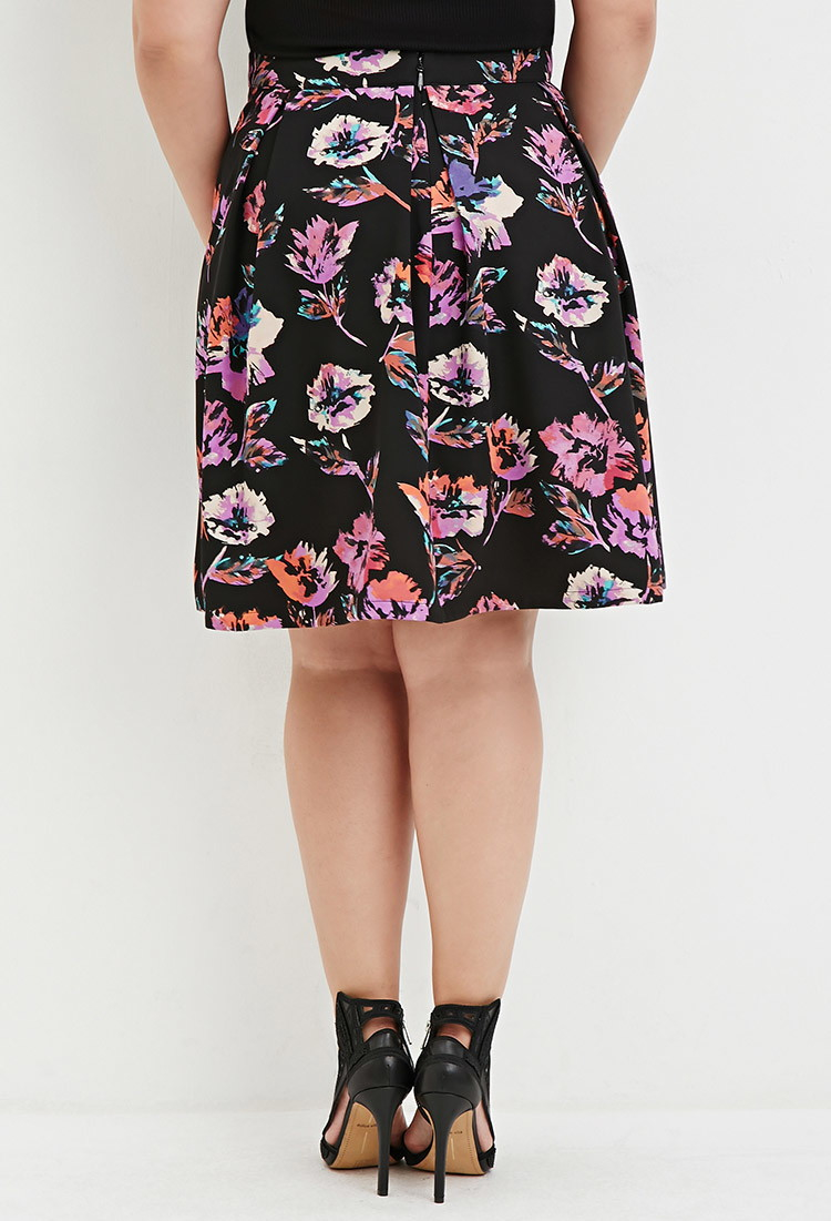 1068b45dc5 Forever 21 Plus Size Watercolor Floral Print Skirt in Black - Lyst