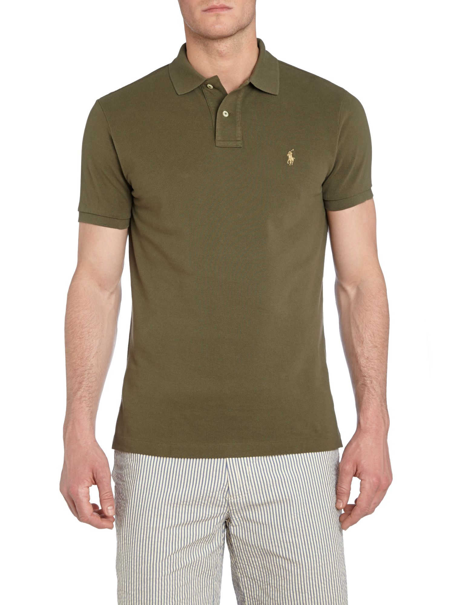 polo ralph lauren custom fit mesh polo shirt in green for