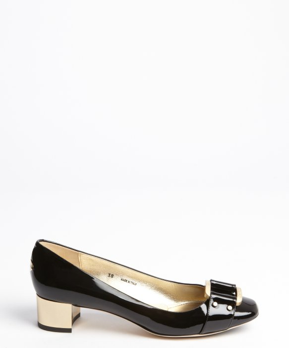 Jimmy choo Black Patent Leather Gold Heel and Buckle Detail Pumps ...