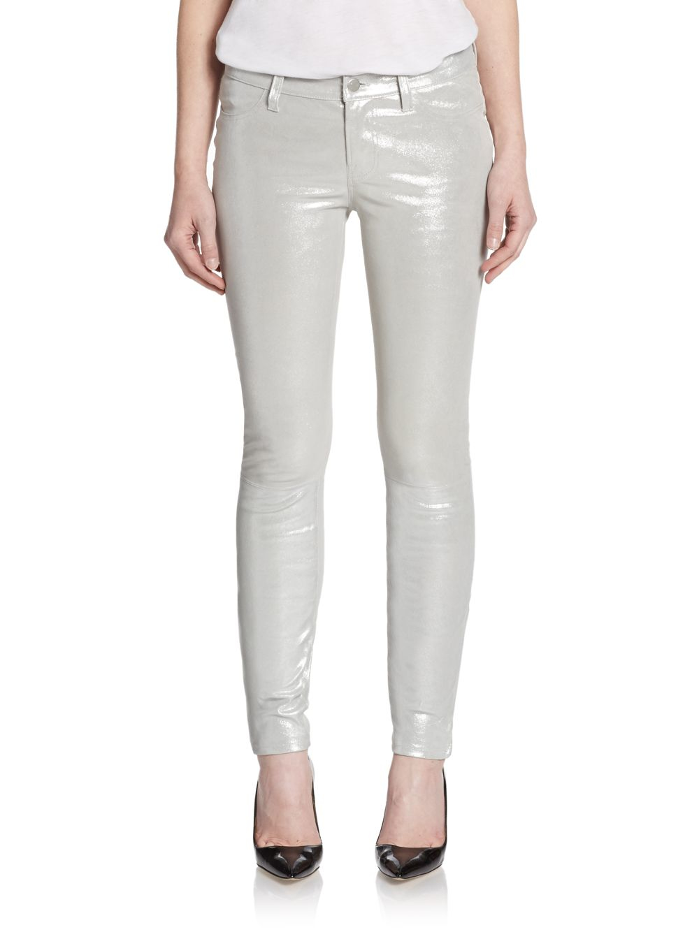 J brand Silver Crystal Metallic Leather Skinny Jeans in Metallic ...