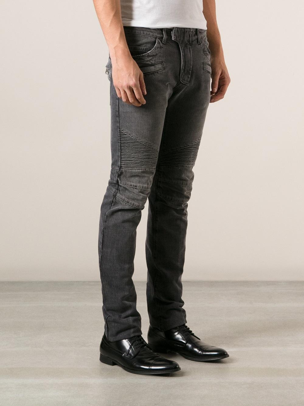balmain moto skinny jeans in black for men lyst. Black Bedroom Furniture Sets. Home Design Ideas