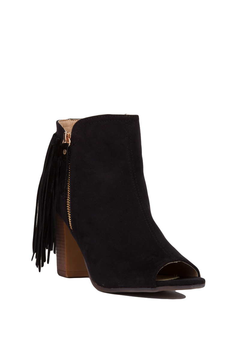 black label open toe fringe heeled ankle boots